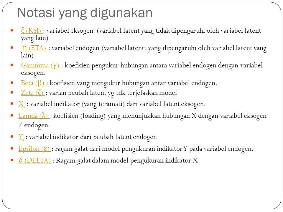 Notasi yang digunakan ξ (KSI) : variabel eksogen (variabel latent yang tidak dipengaruhi oleh variabel latent yang lain)