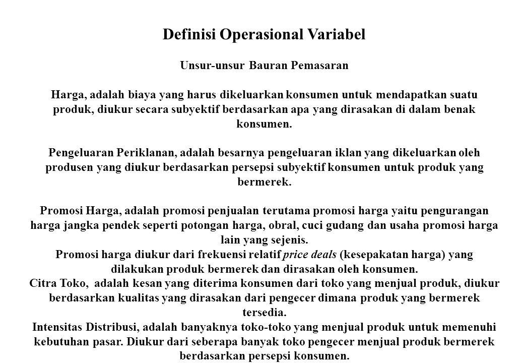 Definisi Operasional Variabel Unsur-unsur Bauran Pemasaran