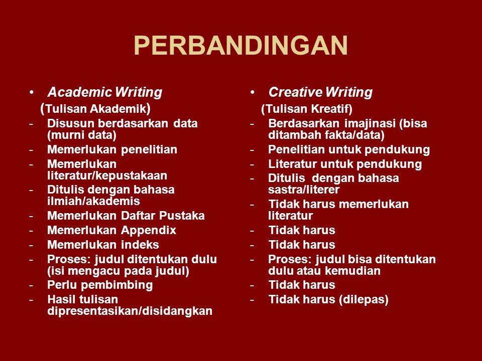 PERBANDINGAN Academic Writing (Tulisan Akademik) Creative Writing