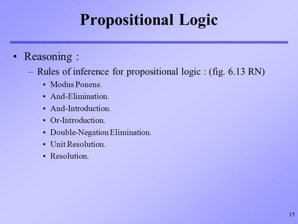 Propositional Logic Reasoning :