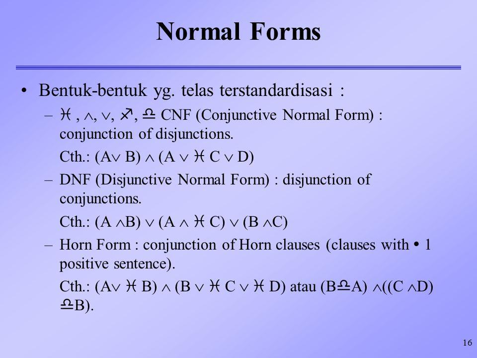 Normal Forms Bentuk-bentuk yg. telas terstandardisasi :