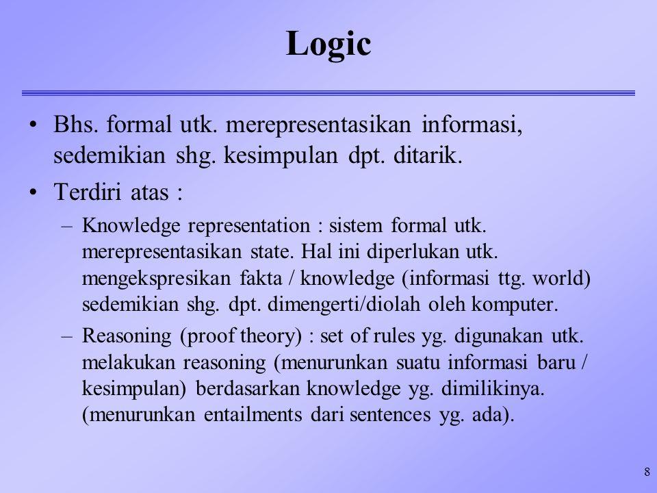 Logic Bhs. formal utk. merepresentasikan informasi, sedemikian shg. kesimpulan dpt. ditarik. Terdiri atas :