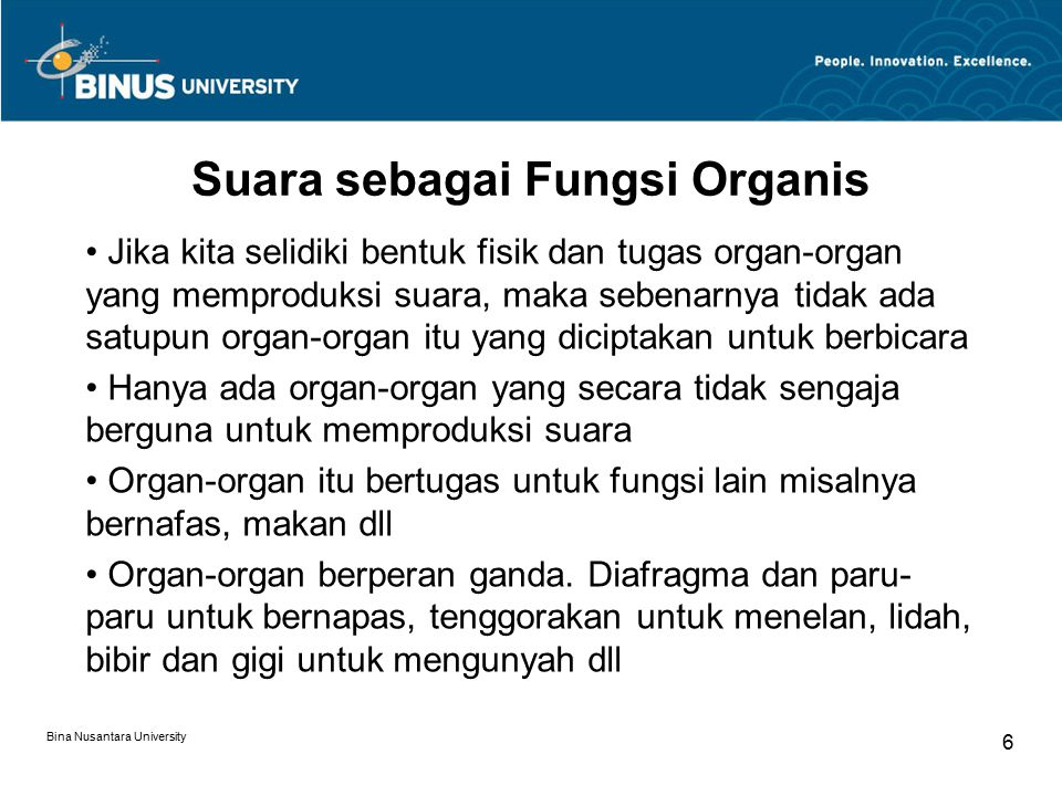 Suara sebagai Fungsi Organis