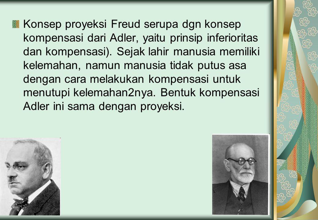 Konsep proyeksi Freud serupa dgn konsep kompensasi dari Adler, yaitu prinsip inferioritas dan kompensasi).