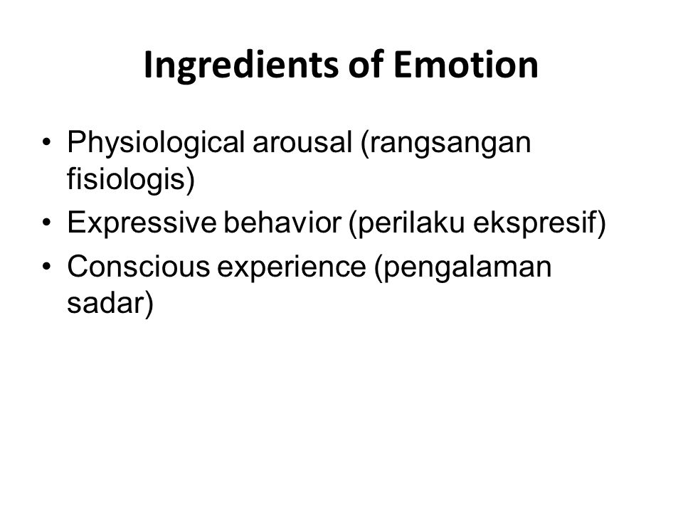 Ingredients of Emotion