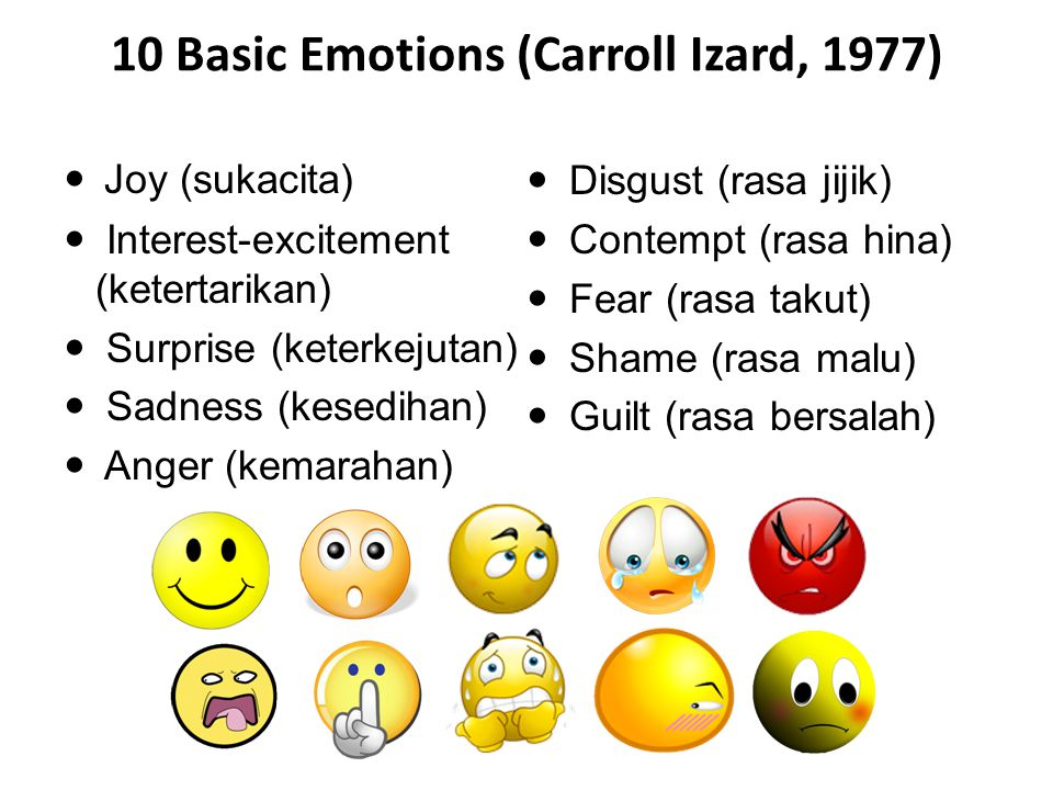 10 Basic Emotions (Carroll Izard, 1977)