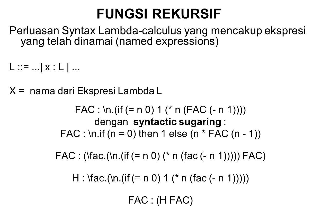 FUNGSI REKURSIF Perluasan Syntax Lambda-calculus yang mencakup ekspresi yang telah dinamai (named expressions)