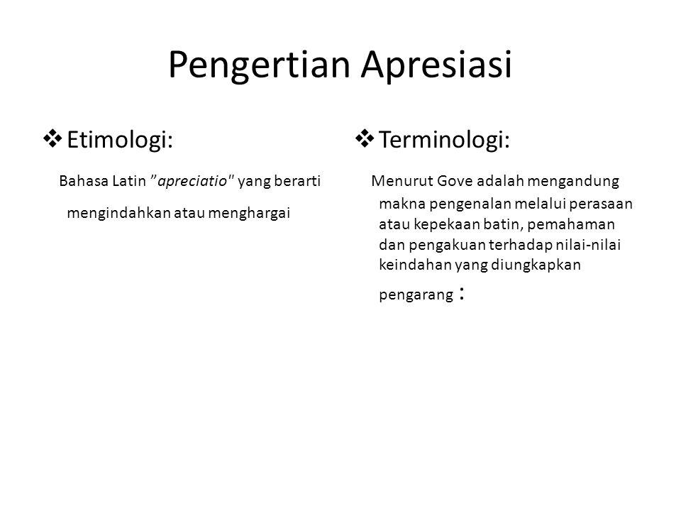 Pengertian Apresiasi Etimologi:
