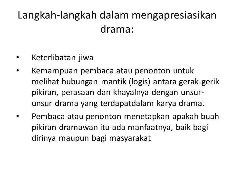 Langkah-langkah dalam mengapresiasikan drama: