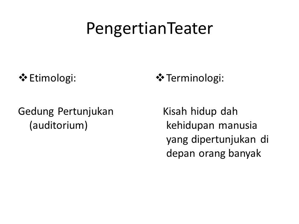 PengertianTeater Etimologi: Gedung Pertunjukan (auditorium)