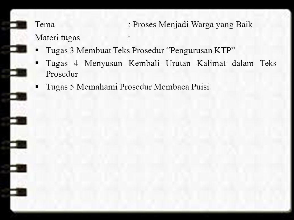 Tema : Proses Menjadi Warga yang Baik