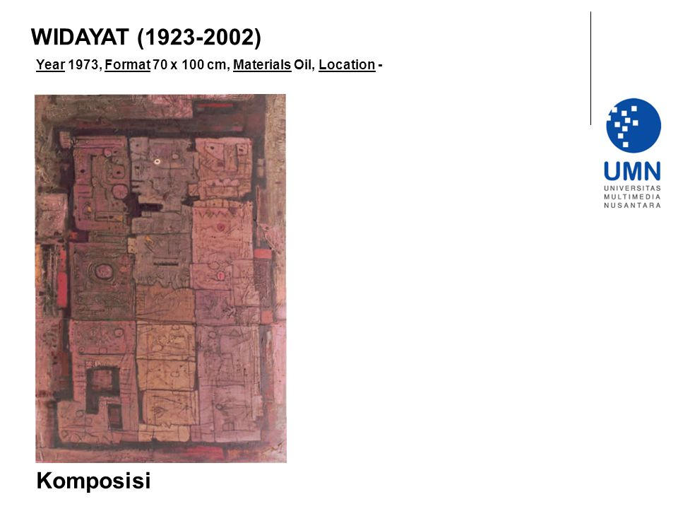 WIDAYAT (1923-2002) Year 1973, Format 70 x 100 cm, Materials Oil, Location - Komposisi