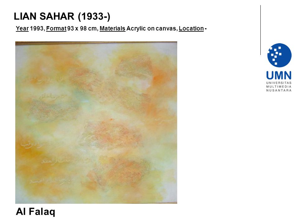 LIAN SAHAR (1933-) Year 1993, Format 93 x 98 cm, Materials Acrylic on canvas, Location - Al Falaq