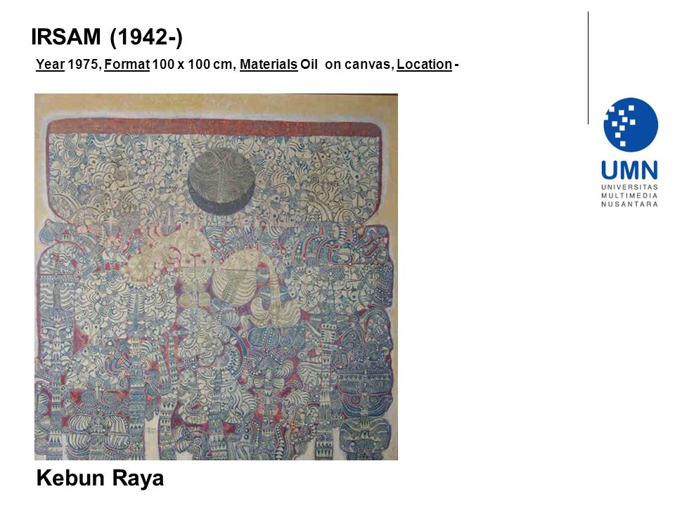 IRSAM (1942-) Year 1975, Format 100 x 100 cm, Materials Oil on canvas, Location - Kebun Raya
