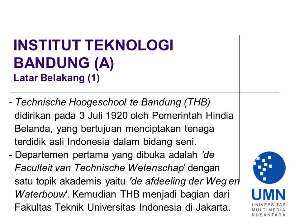 INSTITUT TEKNOLOGI BANDUNG (A) Latar Belakang (1)