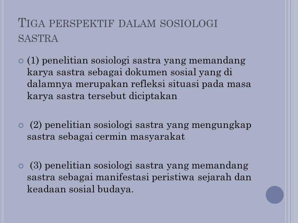 Tiga perspektif dalam sosiologi sastra