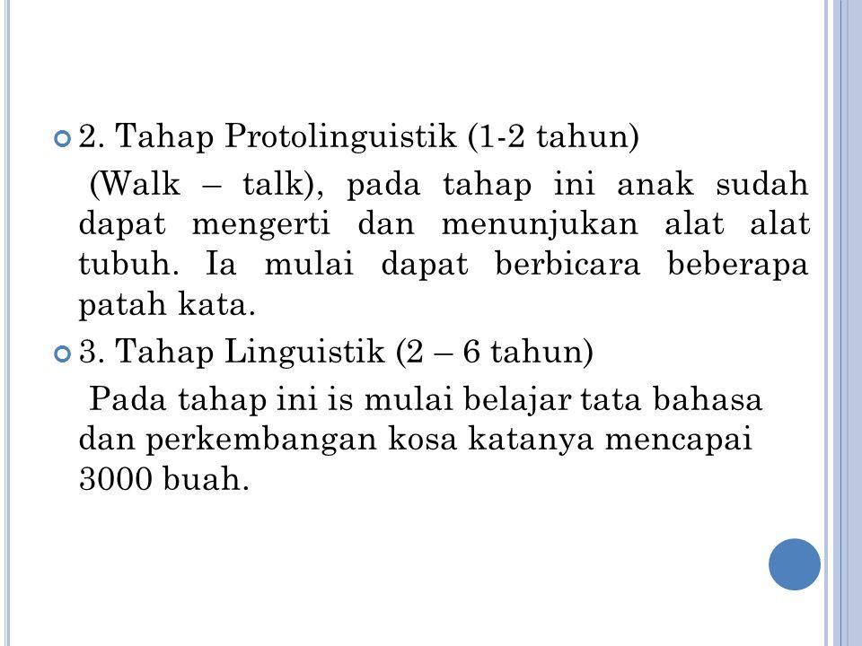 2. Tahap Protolinguistik (1-2 tahun)
