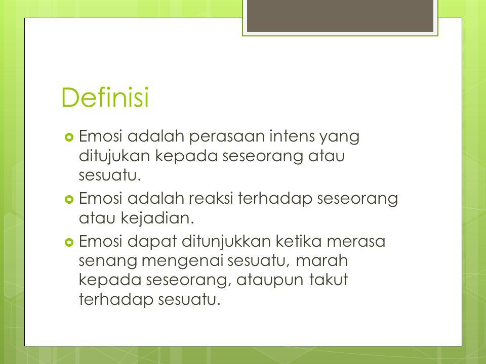 Definisi Emosi adalah perasaan intens yang ditujukan kepada seseorang atau sesuatu. Emosi adalah reaksi terhadap seseorang atau kejadian.