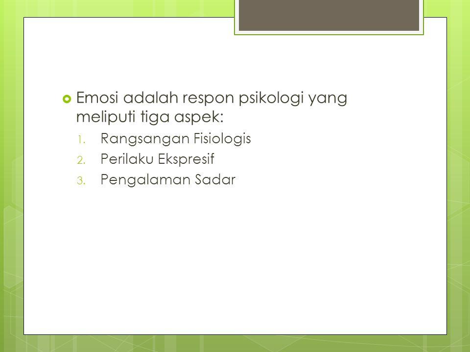 Emosi adalah respon psikologi yang meliputi tiga aspek: