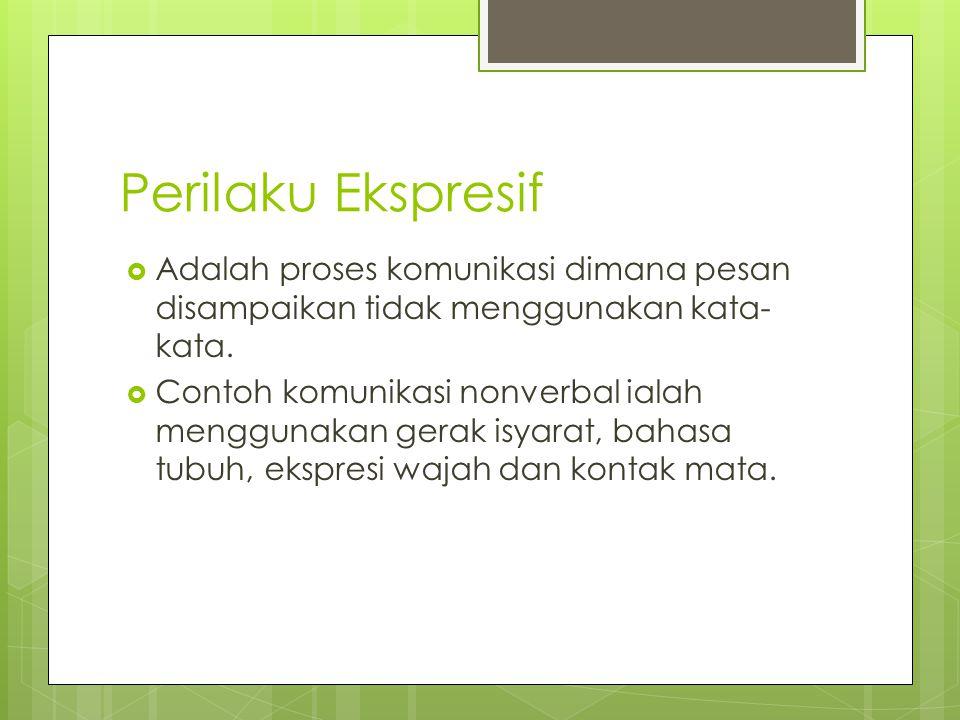 Perilaku Ekspresif Adalah proses komunikasi dimana pesan disampaikan tidak menggunakan kata-kata.
