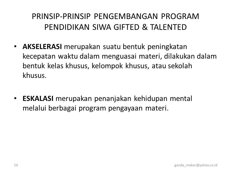 PRINSIP-PRINSIP PENGEMBANGAN PROGRAM PENDIDIKAN SIWA GIFTED & TALENTED