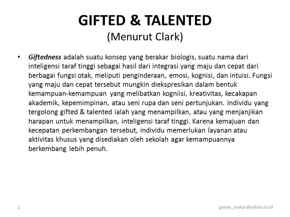 GIFTED & TALENTED (Menurut Clark)