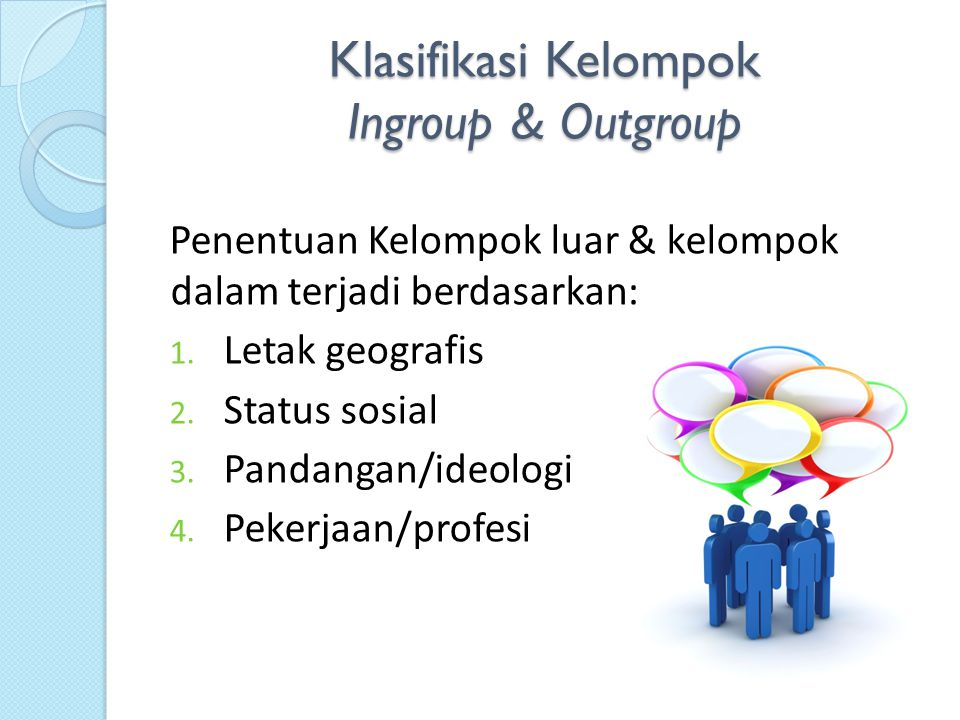 Klasifikasi Kelompok Ingroup & Outgroup