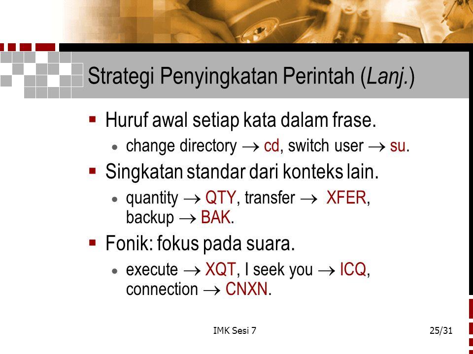 Strategi Penyingkatan Perintah (Lanj.)