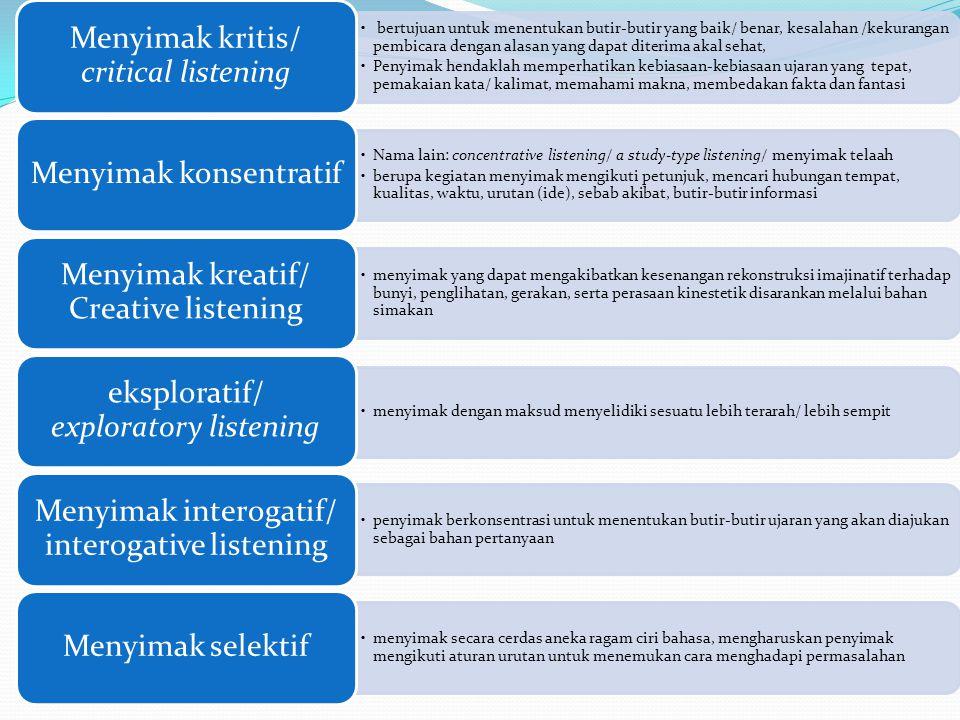 Menyimak kritis/ critical listening
