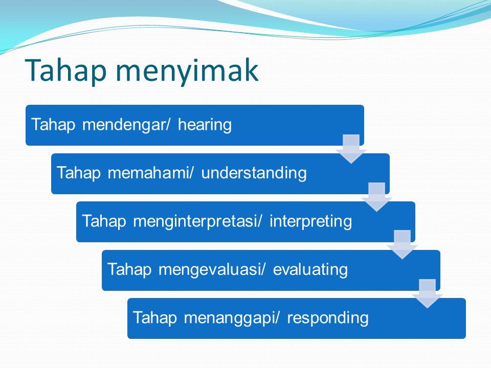 Tahap menyimak Tahap mendengar/ hearing Tahap memahami/ understanding