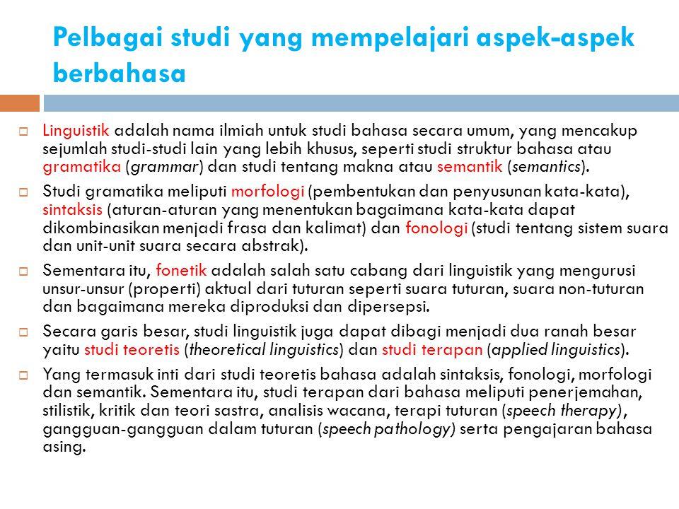 Pelbagai studi yang mempelajari aspek-aspek berbahasa