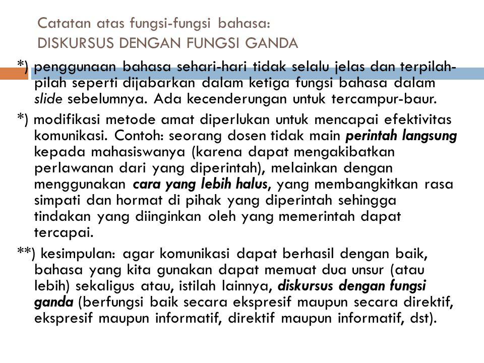 Catatan atas fungsi-fungsi bahasa: DISKURSUS DENGAN FUNGSI GANDA