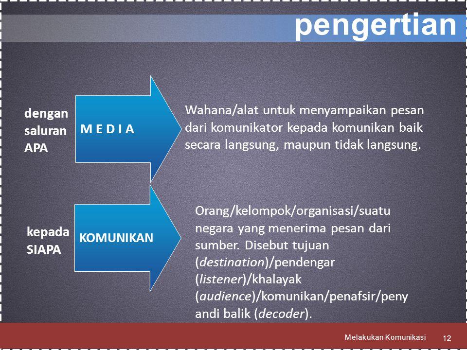 pengertian M E D I A. Wahana/alat untuk menyampaikan pesan dari komunikator kepada komunikan baik secara langsung, maupun tidak langsung.