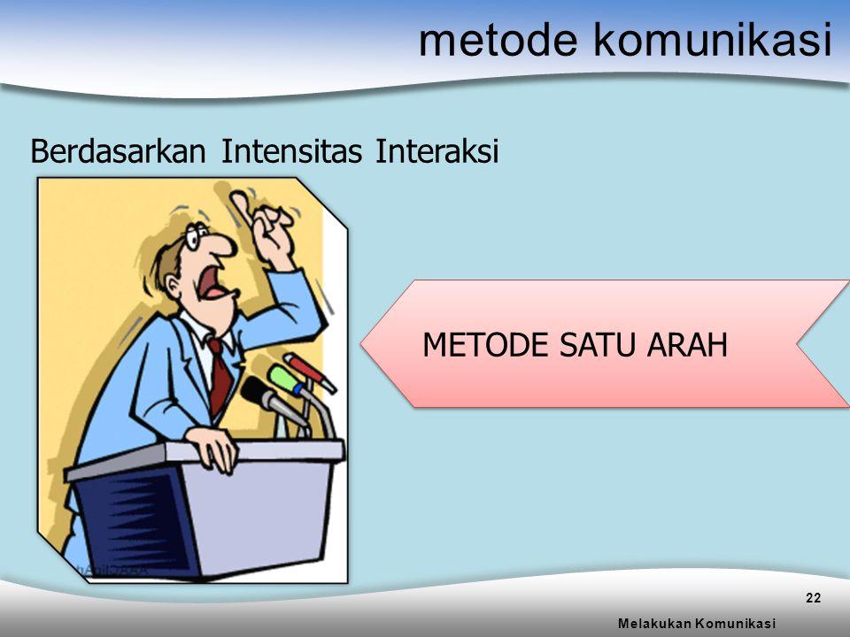 metode komunikasi Berdasarkan Intensitas Interaksi METODE SATU ARAH