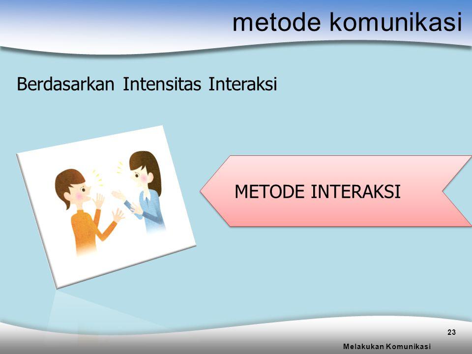 metode komunikasi Berdasarkan Intensitas Interaksi METODE INTERAKSI