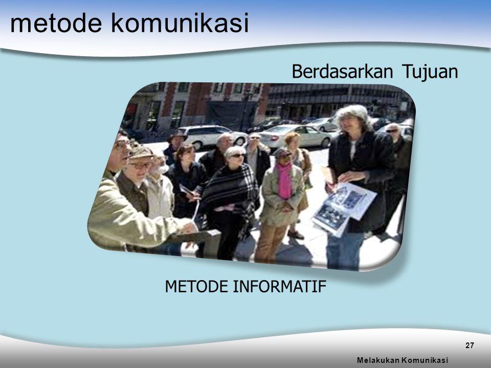 metode komunikasi Berdasarkan Tujuan METODE INFORMATIF