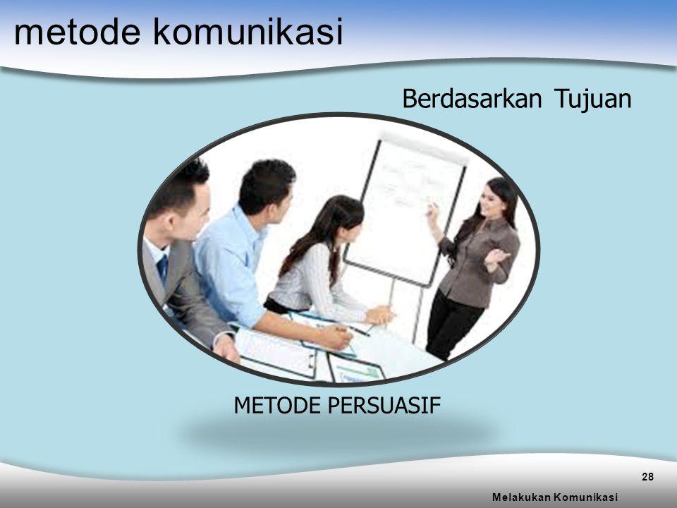 metode komunikasi Berdasarkan Tujuan METODE PERSUASIF