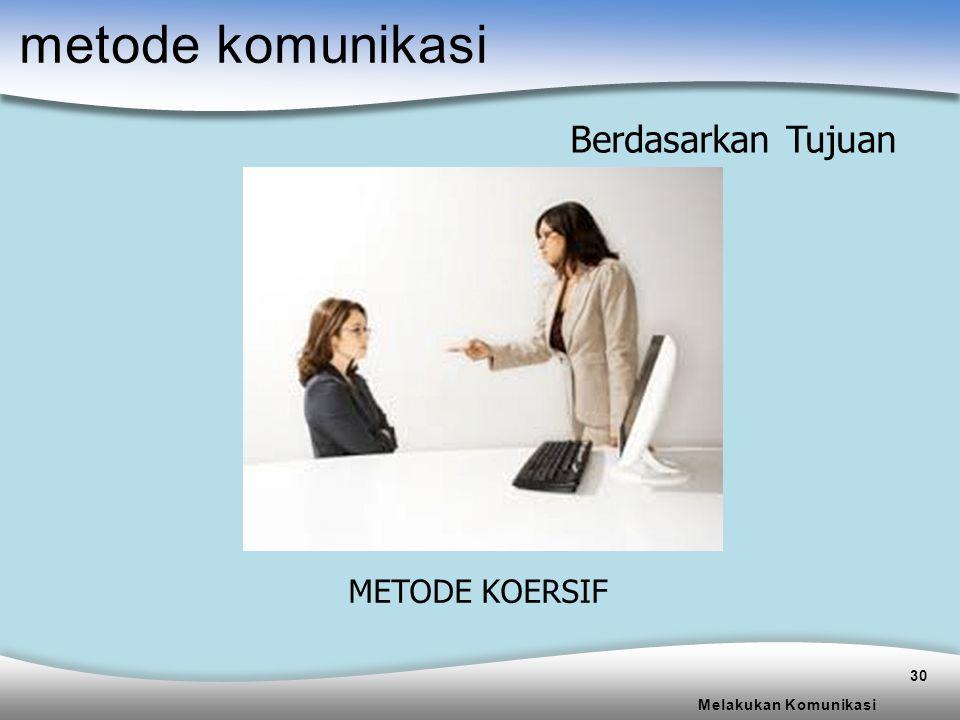 metode komunikasi Berdasarkan Tujuan METODE KOERSIF