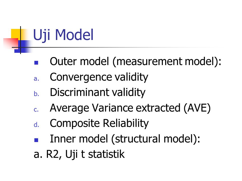 Uji Model Outer model (measurement model): Convergence validity