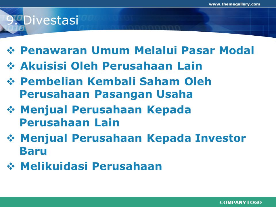 9. Divestasi Penawaran Umum Melalui Pasar Modal