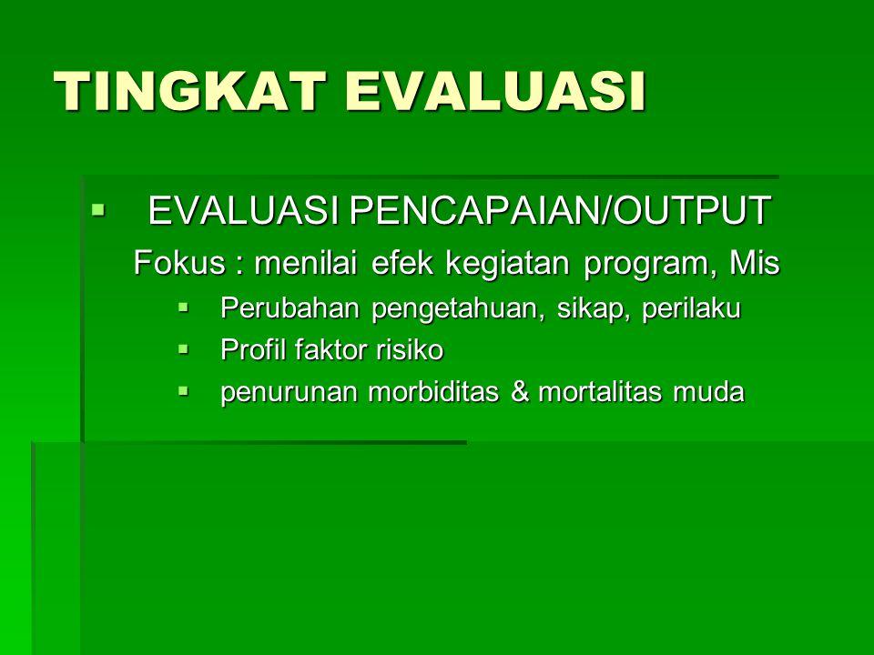 TINGKAT EVALUASI EVALUASI PENCAPAIAN/OUTPUT