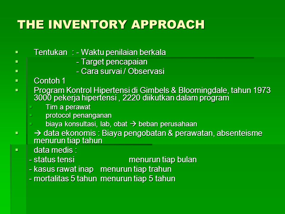 THE INVENTORY APPROACH