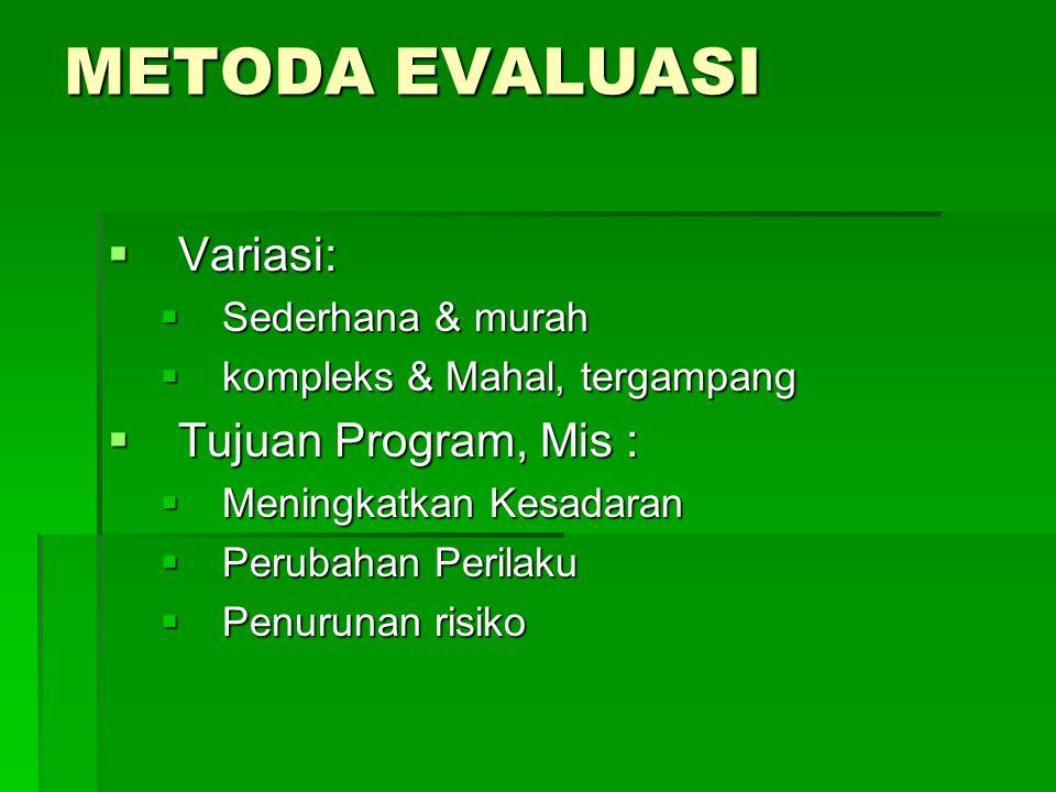 METODA EVALUASI Variasi: Tujuan Program, Mis : Sederhana & murah