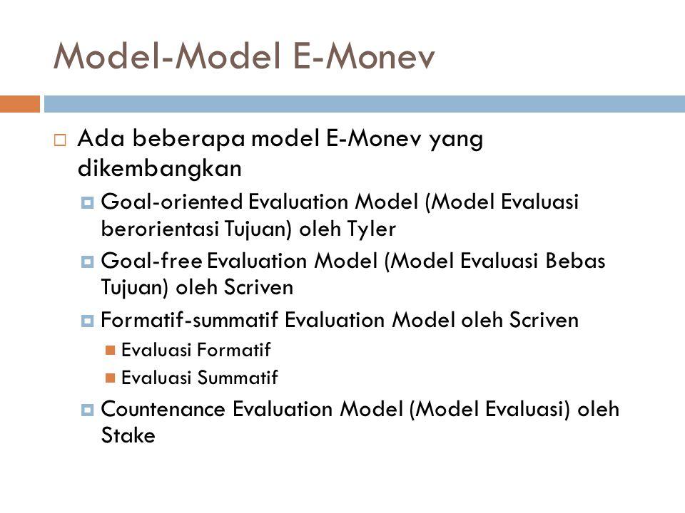 Model-Model E-Monev Ada beberapa model E-Monev yang dikembangkan