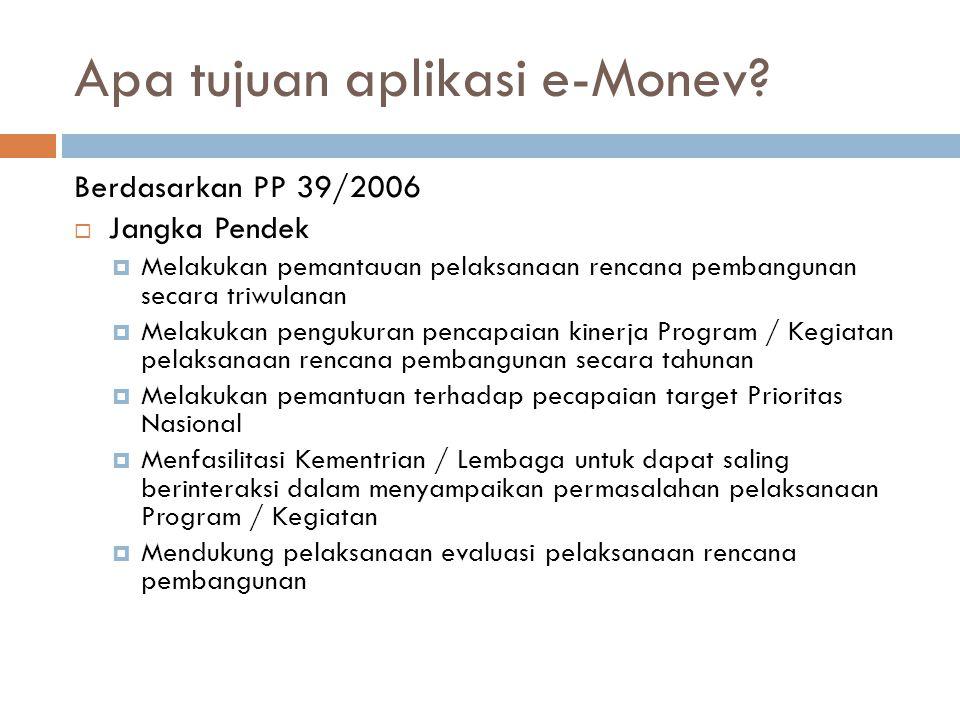 Apa tujuan aplikasi e-Monev