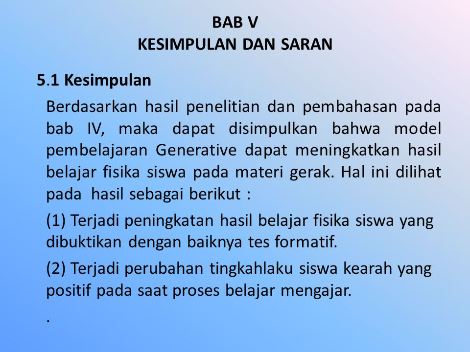 BAB V KESIMPULAN DAN SARAN