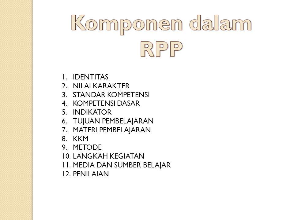 Komponen dalam RPP IDENTITAS NILAI KARAKTER STANDAR KOMPETENSI
