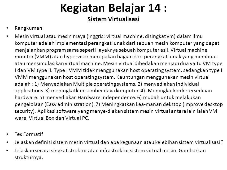 Kegiatan Belajar 14 : Sistem Virtualisasi