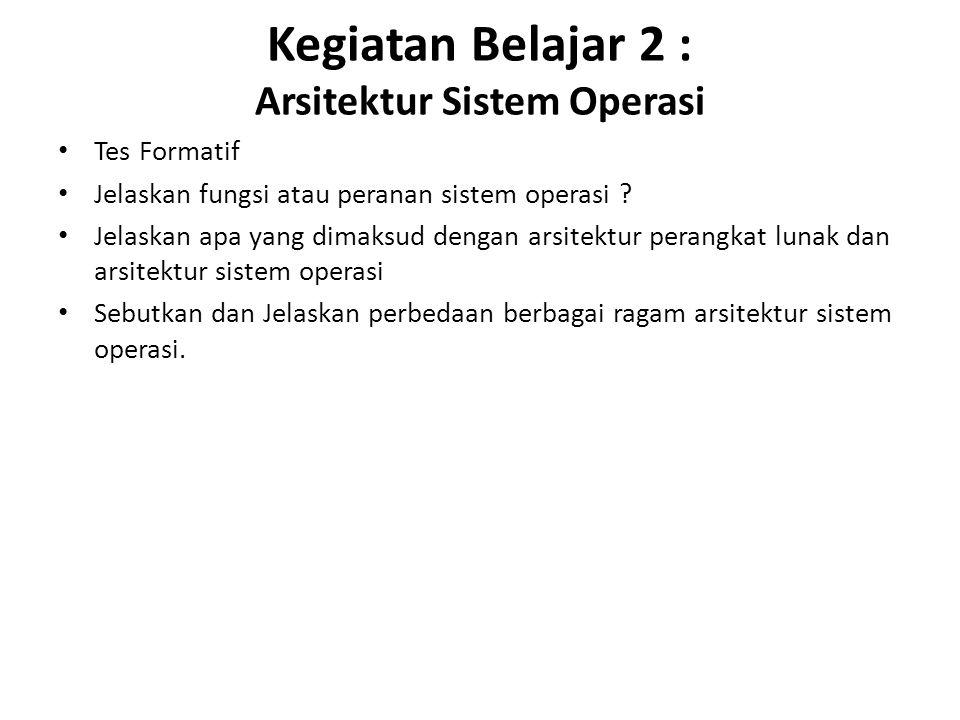 Kegiatan Belajar 2 : Arsitektur Sistem Operasi