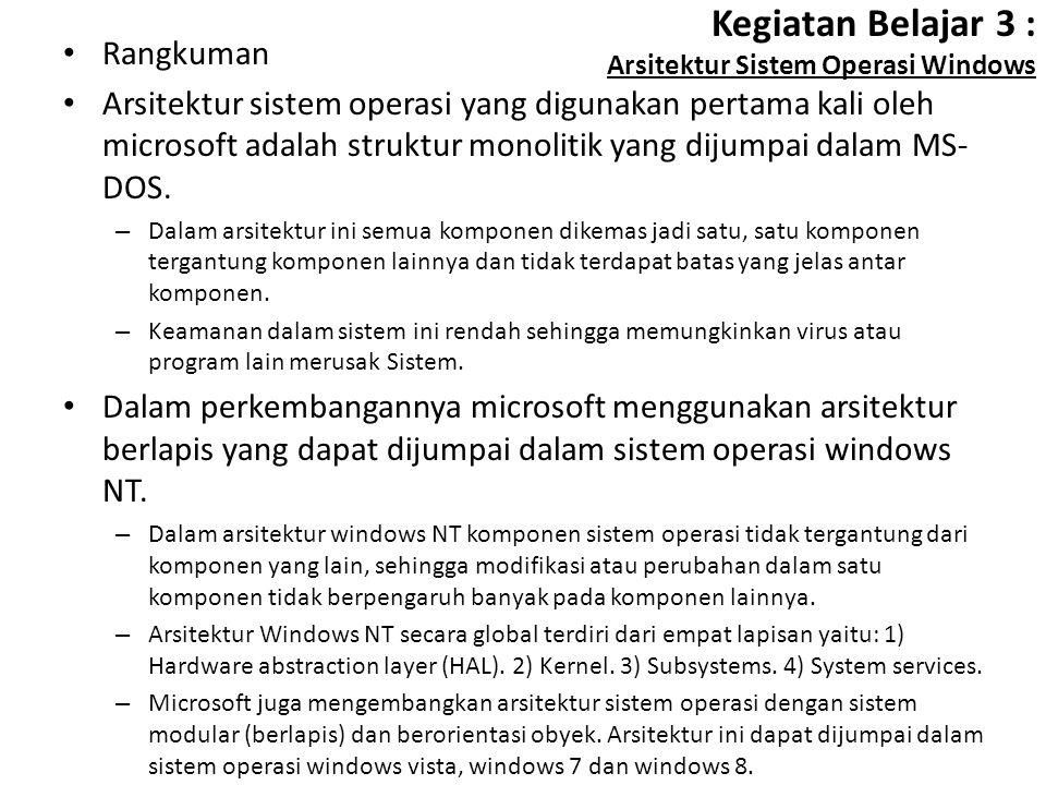 Kegiatan Belajar 3 : Arsitektur Sistem Operasi Windows